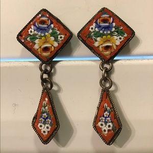 Antique 1920's Italian Mini Mosaic Earrings
